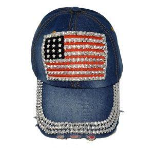 Patriotic Distressed Embellished Hat